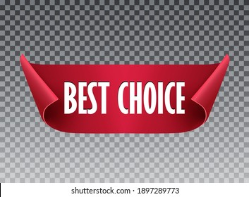 Best choice red ribbon isolated. Giveaway tags or labels for social media post.