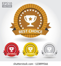 Best Choice Ribbon Sticker and Sign with Cup and Stars - EPS10 Vector