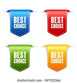 Best choice ribbons set vector illustration isolated on white background