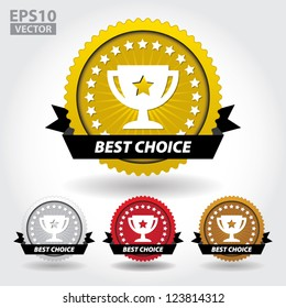 Best Choice Sticker and Sign with Cup and Stars - EPS10 Vector