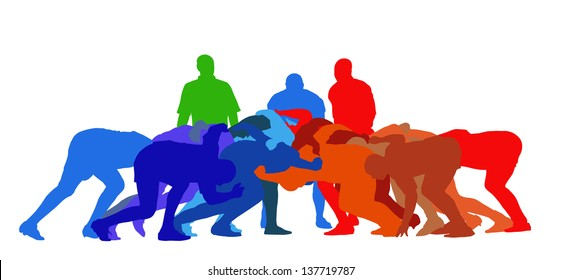 Best Color Sport Silhouette Isolation - Rugby Full Scrum