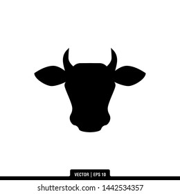 The best of Cow Head Silhouette icon vector, illustration logo template in trendy style. Suitable for many purposes.