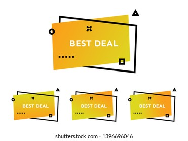 Best Deal. Set of four yellow geometric trendy banners.  Modern gradient shape with promotion text. Vector illustration.