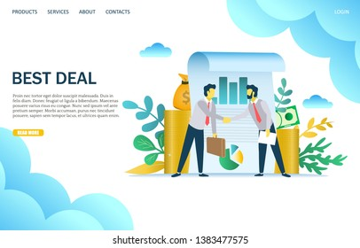 Best deal vector website template, web page and landing page design for website and mobile site development. Two businessmen making a deal and shaking hands. Partnership, signing contract concept.