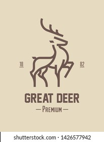 Best deer logo design, illustration and logotype. A great, elegant deer standing gracefully. Hunter logo t-shirt minimal design. Deer icon for company logo in premium quality. Printable vector design