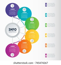 Best for diagram or business presentation with 6 options. Examples of infographics, how to make your business structured. Infographic with 6 processes. Investor presentation with 6 steps