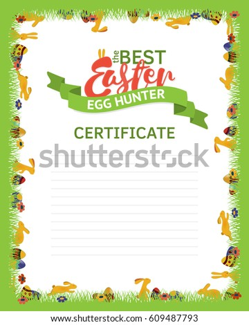 Best easter egg hunter certificate template stock vector royalty the best easter egg hunter certificate template a frame made of rabbits eggs and maxwellsz