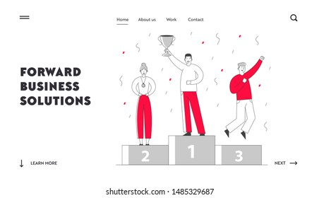 Best Employee Managers Website Landing Page. Smiling Business People Stand on Winners Pedestal with Golden Cup, Medals and Confetti. Most Great Result Web Page Banner. Cartoon Flat Vector Illustration