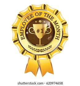 best employee of the month award hanging ribbon print colors used - Employee Of The Month Award