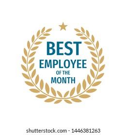 Best employee of the month - badge design with a laurel wreath. Winner logo emblem.