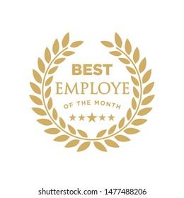 Best employee of the month - badge design with a laurel wreath. Winner logo emblem