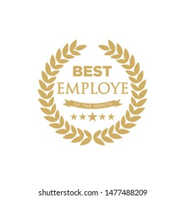 Best employee of the month - badge design with a laurel wreath. Winner logo emblem