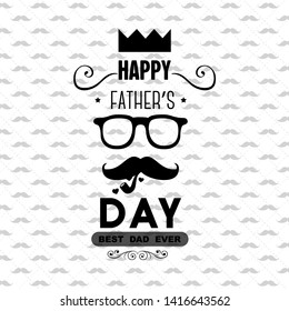 To the best Father logo design, Happy Fathers Day creative label for banner, poster, greeting card, shirt, hand drawn vector Illustration - Vector