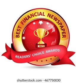 Best Financial Newspaper. Readers' choice award - golden red ribbon with golden cup.