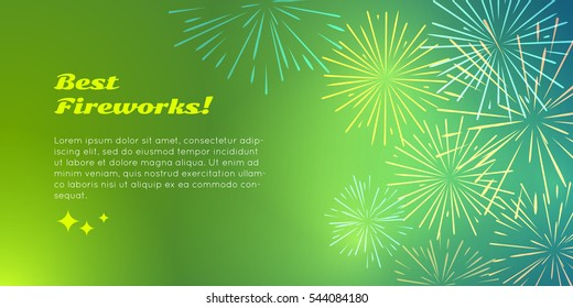 Best fireworks advertisement banner pyrotechnic shop ad. Happy holidays with salute elements for fireworks festival. Vector illustration banner in flat for birthday or valentine's day celebration