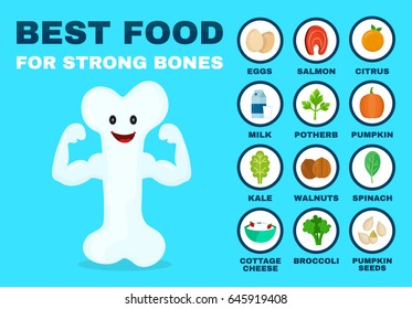 Best food for strong bones. Strong healthy bone character. Vector flat cartoon illustration icon. Isolated on blue background. Health food, diet, products, nutrition, nutriment infographic concept