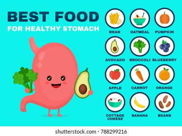 Best food for strong stomach.Strong healthy stomach character. Vector flat cartoon illustration icon. Isolated on blue backgound. Health food,diet,products,nutrition,nutriment infographic concept