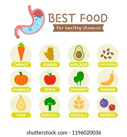 Best foods for the healthy stomach infographic.