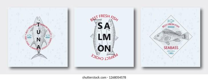 Best fresh fish Tuna, Salmon, Seabass. Vector illustration emblem or logo template. Vintage design with hand drawn sketch. Line art style.