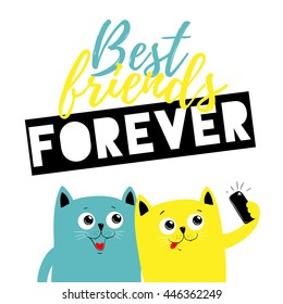 Best friend forever cats, vector illustration