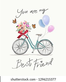 best friend slogan with bicycle and flowers illustration
