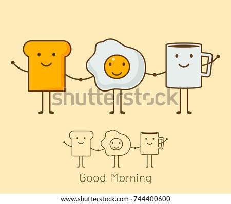 Best Friends Breakfast Good Morning Set Stock Vector Royalty Free