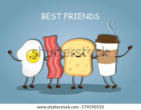 best friends breakfast morning breakfast good のベクター画像素材