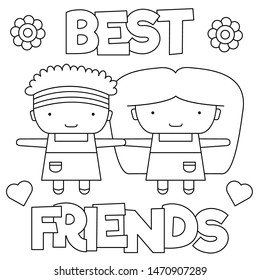 Best friends. Coloring page. Vector.