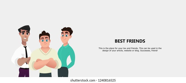 Best Friends concept. Three best friends, small company, cohesive team. Use in a web project, applications, website design, social networks. Flat cartoon style vector illustration