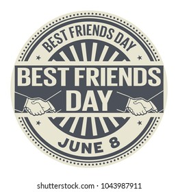 Best Friends Day, June 8, rubber stamp, vector Illustration