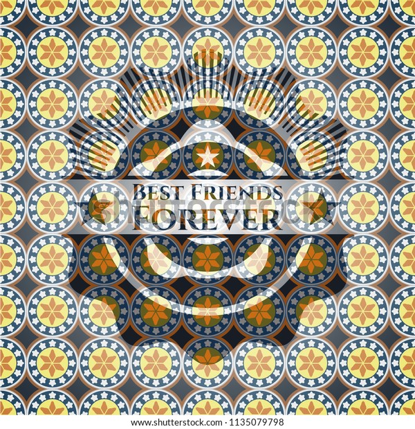 Best Friends Forever Arabic Badge Arabesque Stock Vector
