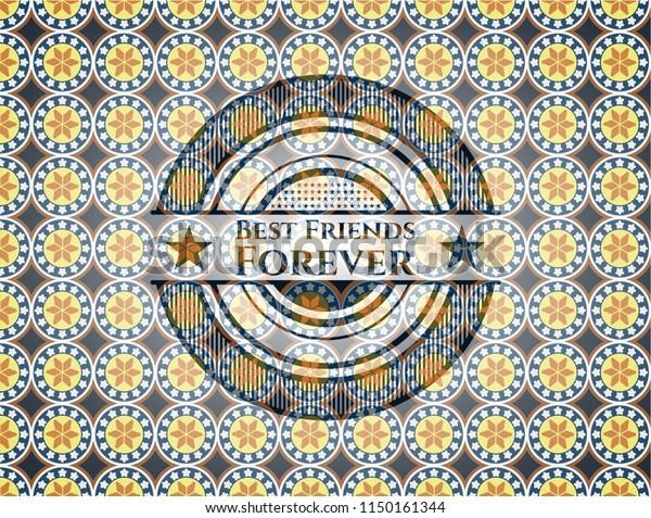 Best Friends Forever Arabic Emblem Background Stock Vector