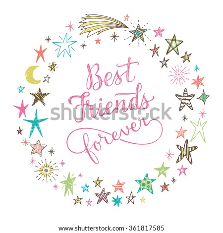 Best Friends Forever Hand Drawn Lettering Stock Vector Royalty Free