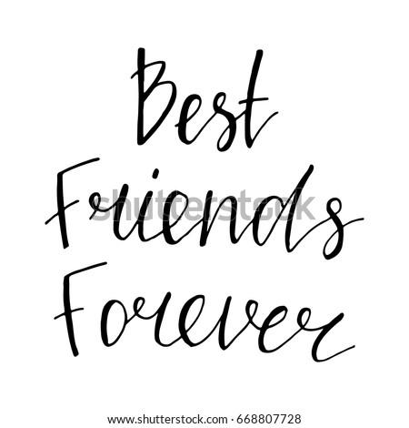 best friends forever hand drawn vector のベクター画像素材