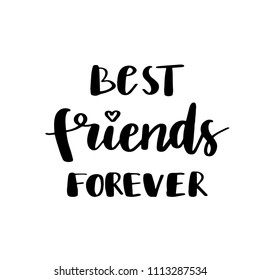 Best friends forever postcard. Ink illustration. Modern brush calligraphy. Isolated on white background.