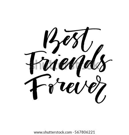 best friends forever postcard ink illustration のベクター画像素材