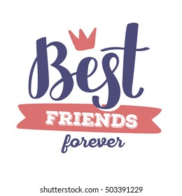 Best friends forever - red and blue color handwritten vector lettering with crown. Calligraphic inscription. Hand drawn lettering print. Apparel, t-shirt, bag, sticker, poster, card design