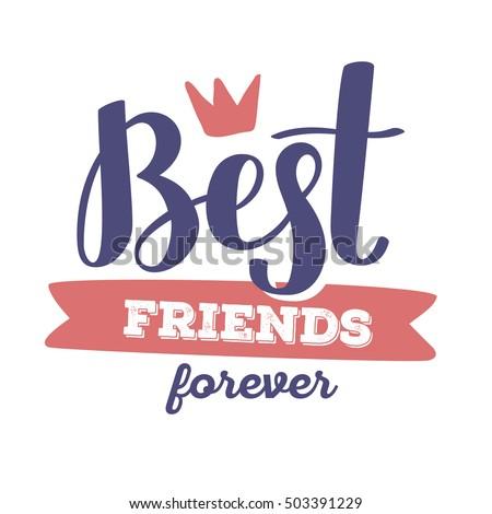 best friends forever red blue color のベクター画像素材