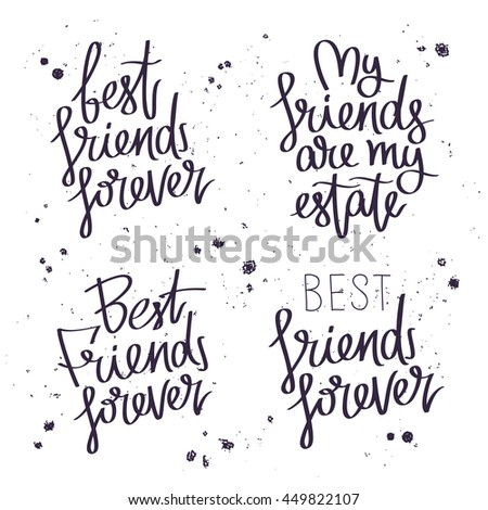 Best Friends Forever Trend Calligraphy Vector Stock Vektorgrafik