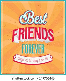 Best friends forever typographic design. Vector illustration.