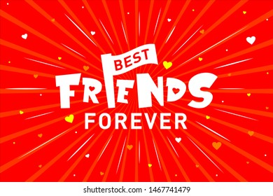 Best Friends Forever Typography, Concept, Logo, Greetings, Cards, Design, Template, Banner, Icon, Poster, Unit, Label, Web Header, Mnemonic on Red Celebration Background with Love, Hearts - Vector