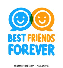 Best friends forever. Vector poster, banner illustration on white background.