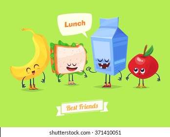 Best friends. Funny characters banana sandwich milk and apple. Funny food. Vector cartoon illustration. Cute stylish characters. Vector stock illustration.