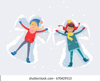 Best friends girls in cute winter clothes, make snow angels and have good time lying on snow with snowflakes. Vector illustration of friendship and spending time together. Winter holiday concept