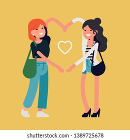 Best friends girls make heart shape with their arms, flat design vector illustration. Trendy concept on friendship with two adult female characters standing together