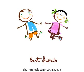 beste Freunde, glückliche Kinder springen
