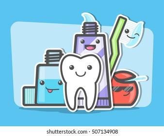 Best friends of healthy teeth. Dental and oral hygiene concept. Toothcare things. Toothpaste, floss, mouthwash, toothbrush, tooth. Funny vector illustration.