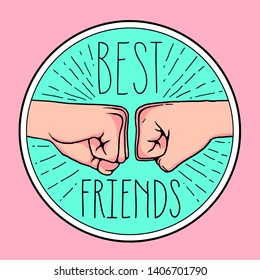 best friends icon funny cute badge illustration tee shirt print graphic design