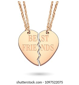 Best Friends Jewelry Charm Necklace in Gold on Chain