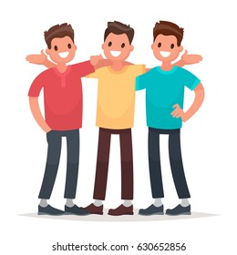 Best friends. Men embracing rejoice at the meeting. Vector illustration in a flat style